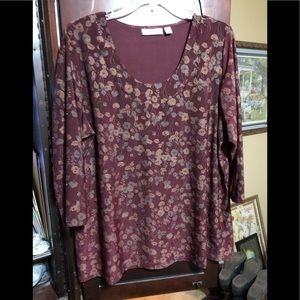 Burgundy Blouse with Sequin Embellishments